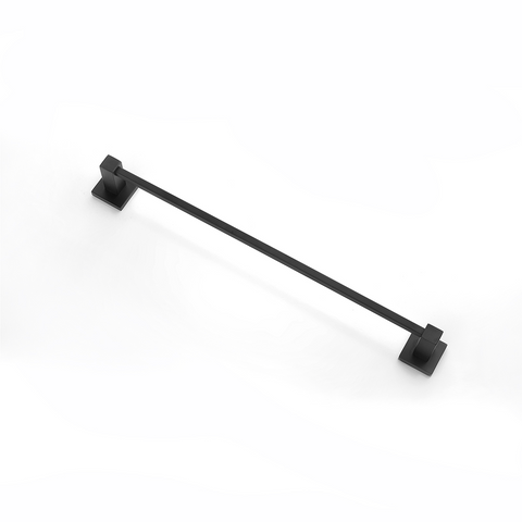 Block Single Towel Rail 600mm Black