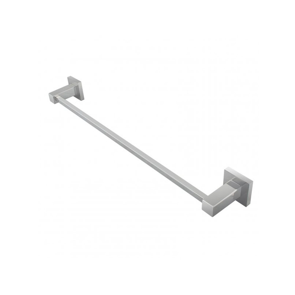 Block Single Towel Rail 600mm Chrome