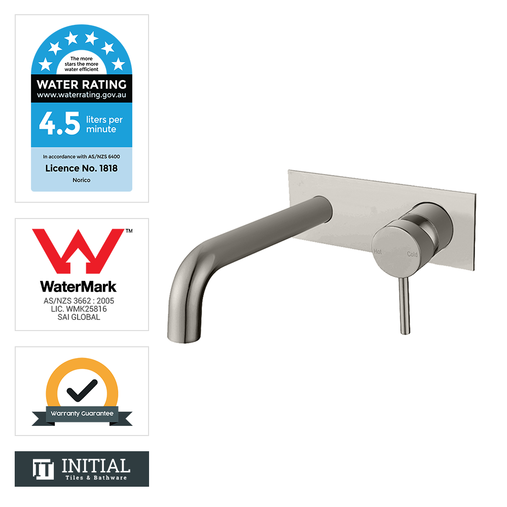 Bathroom Petra Bathtub Wall Mixer with Spout Brushed Nickel