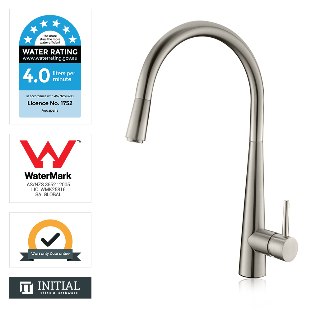 Kitchen Petra Pull Out Sink Mixer Brushed Nickel