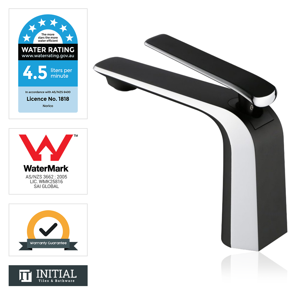 Bathroom Speranza Basin Mixer Black & Chrome