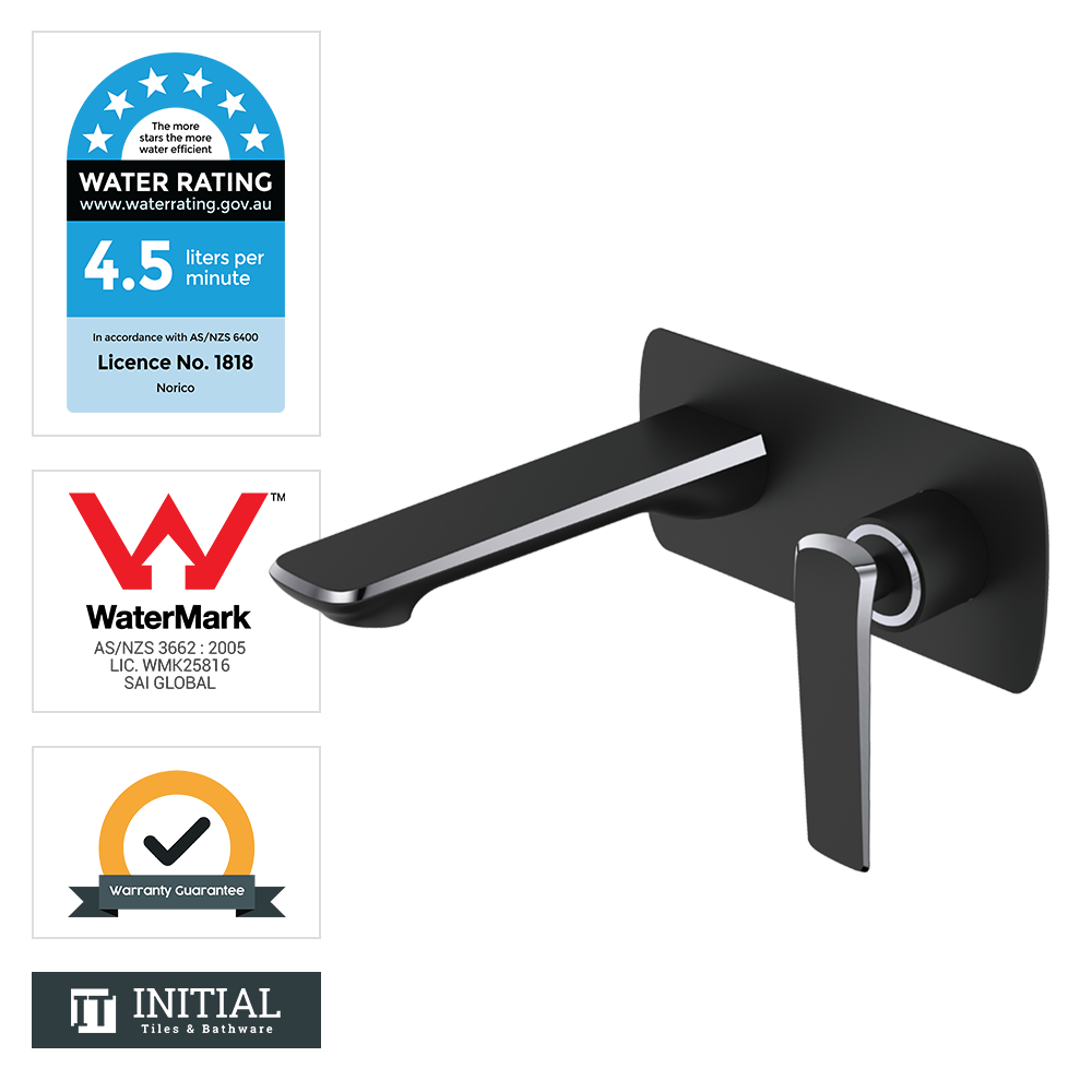 Bathroom Speranza Bathtub Wall Mixer with Spout Black & Chrome