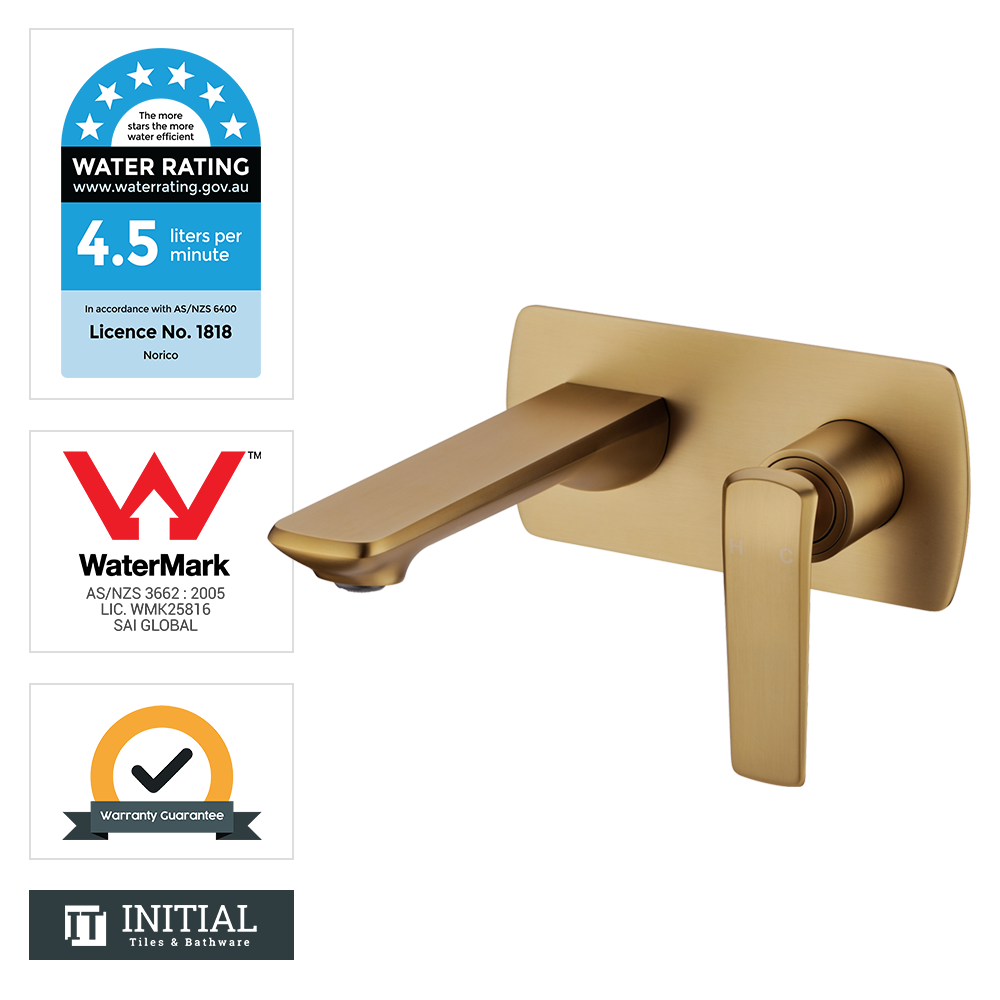 Bathroom Speranza Bathtub Wall Mixer with Spout Yellow Gold