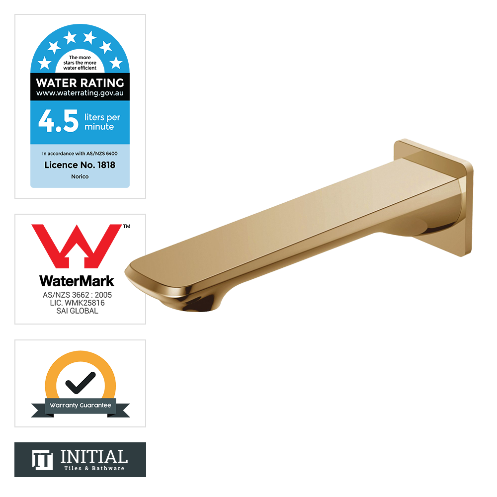 Bathroom Speranza Wall Bath Spout Yellow Gold