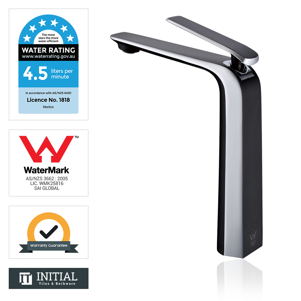 Bathroom Speranza Tall Basin Mixer Black & Chrome