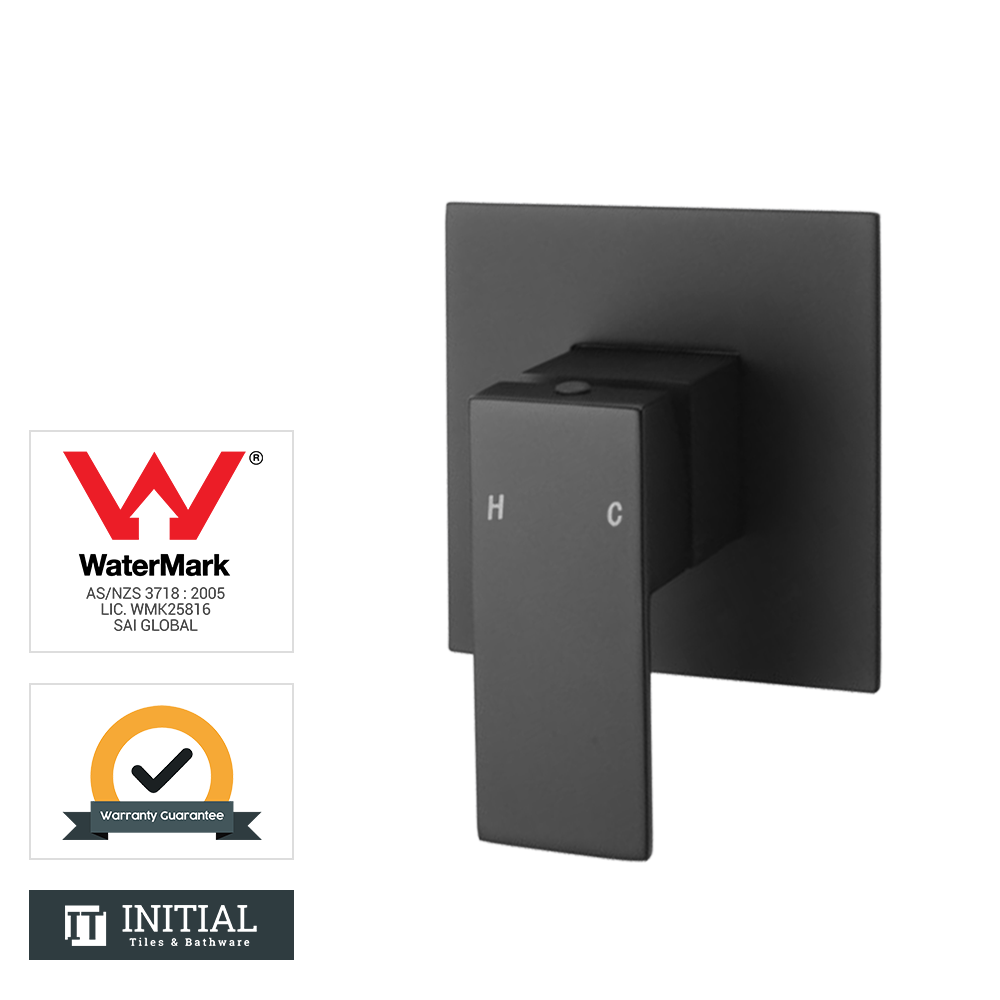 Bathroom Block Shower Wall Mixer Black