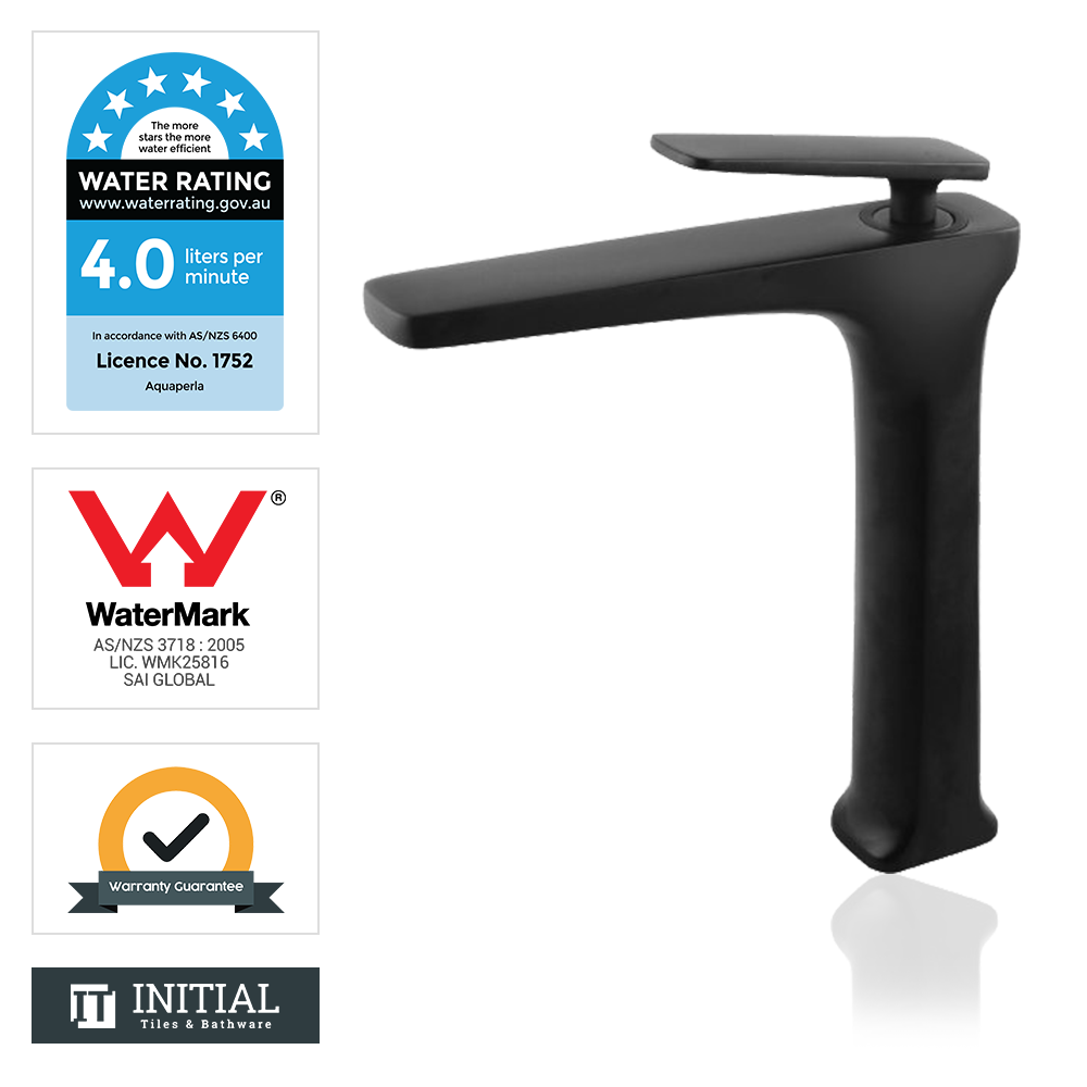 Bathroom Tera Tall Basin Mixer Black