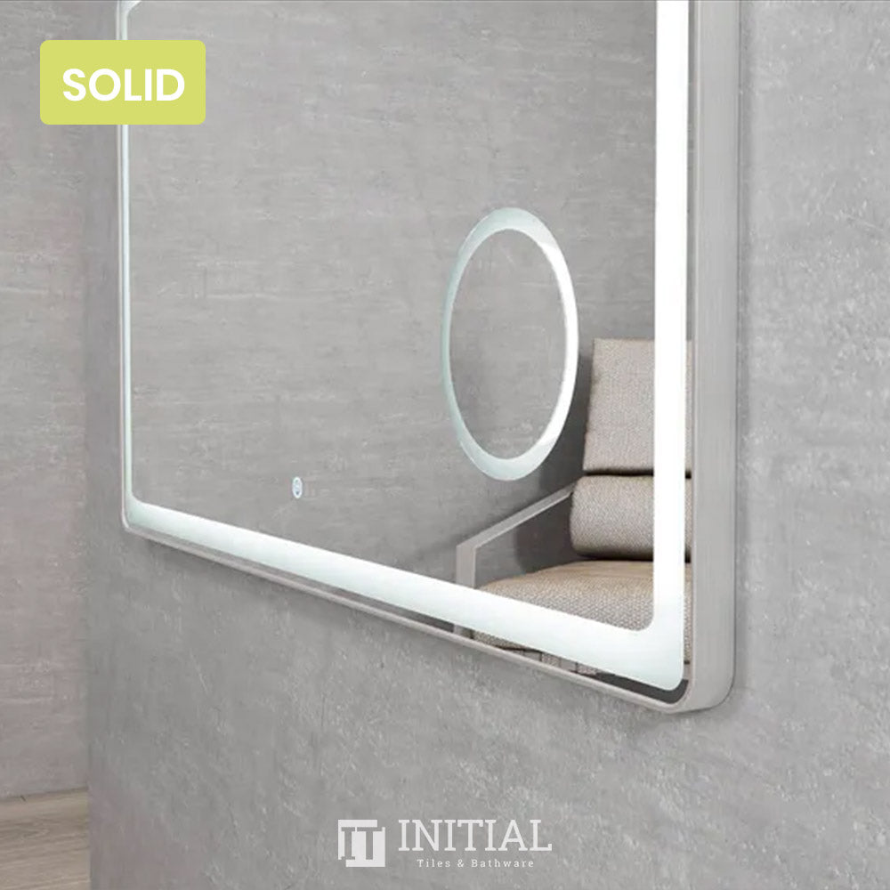 Bathroom Wall Mounted Newtown Brushed Silver Frame Led Mirror Solid Surface Edge 1200X700MM
