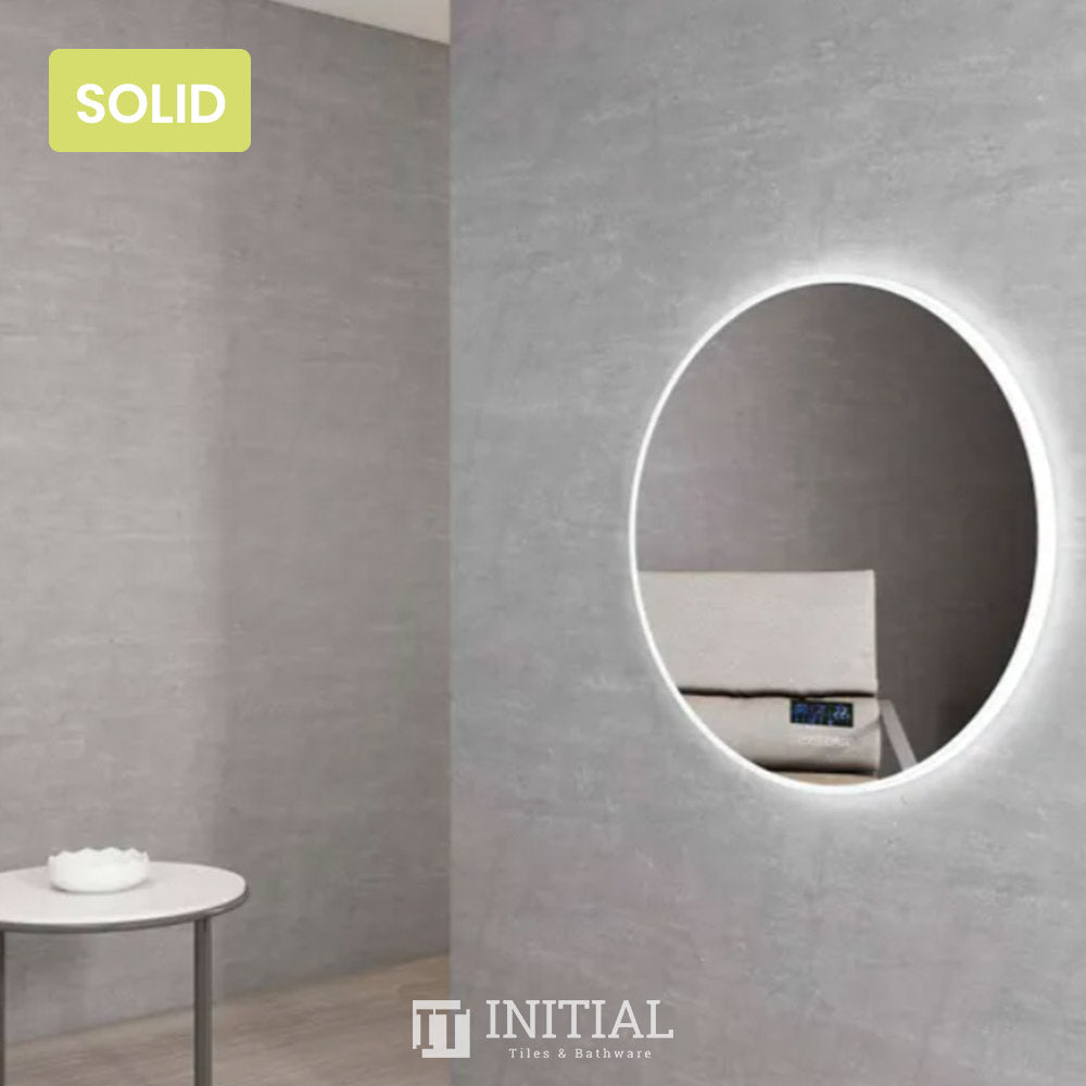 Bathroom Wall Mounted Palm Led Round Mirror Solid Surface Edge With Speaker 800MM