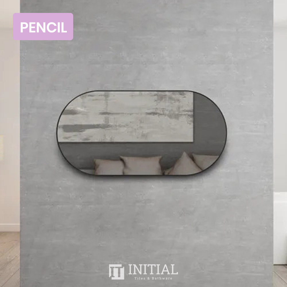 Bathroom Wall Mounted Rose Oval Matte Black Frame Mirror Pencil Edge 1200X600MM