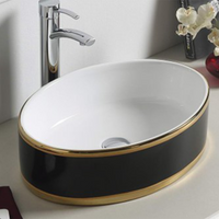 Gloss Round Above Counter Basin Black & White with Gold Ring 510X365X145