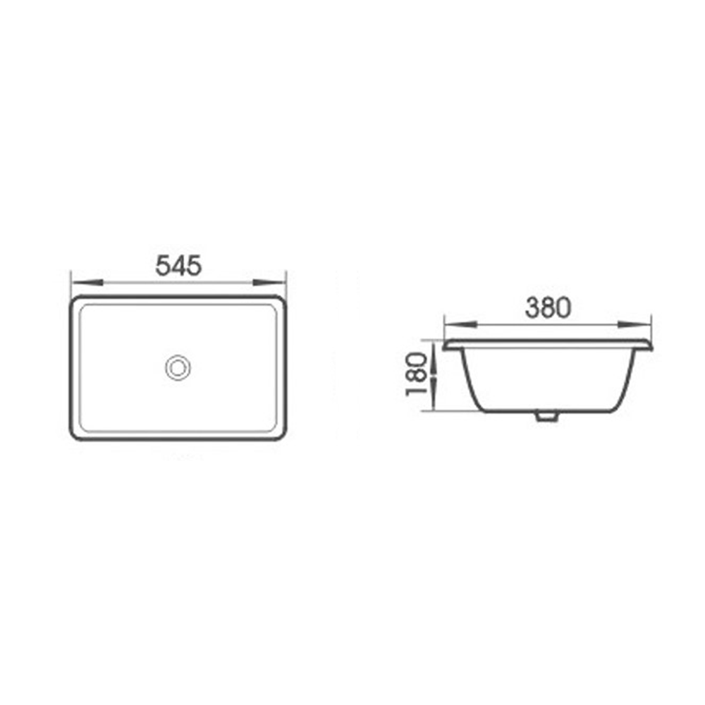 Gloss Rectangle Undermount / Counter Basin White 545X380X180