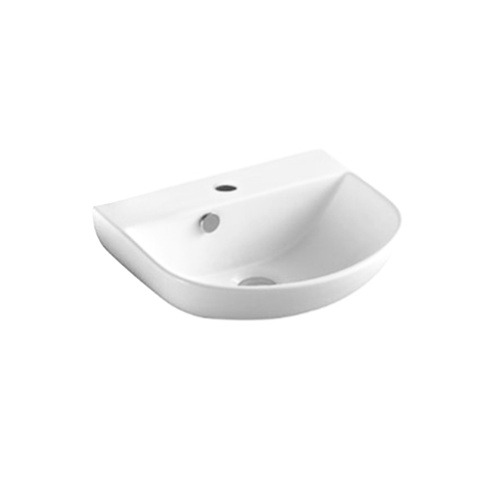 Gloss Round Wall Hung Ceramic Basin White 430X360X180