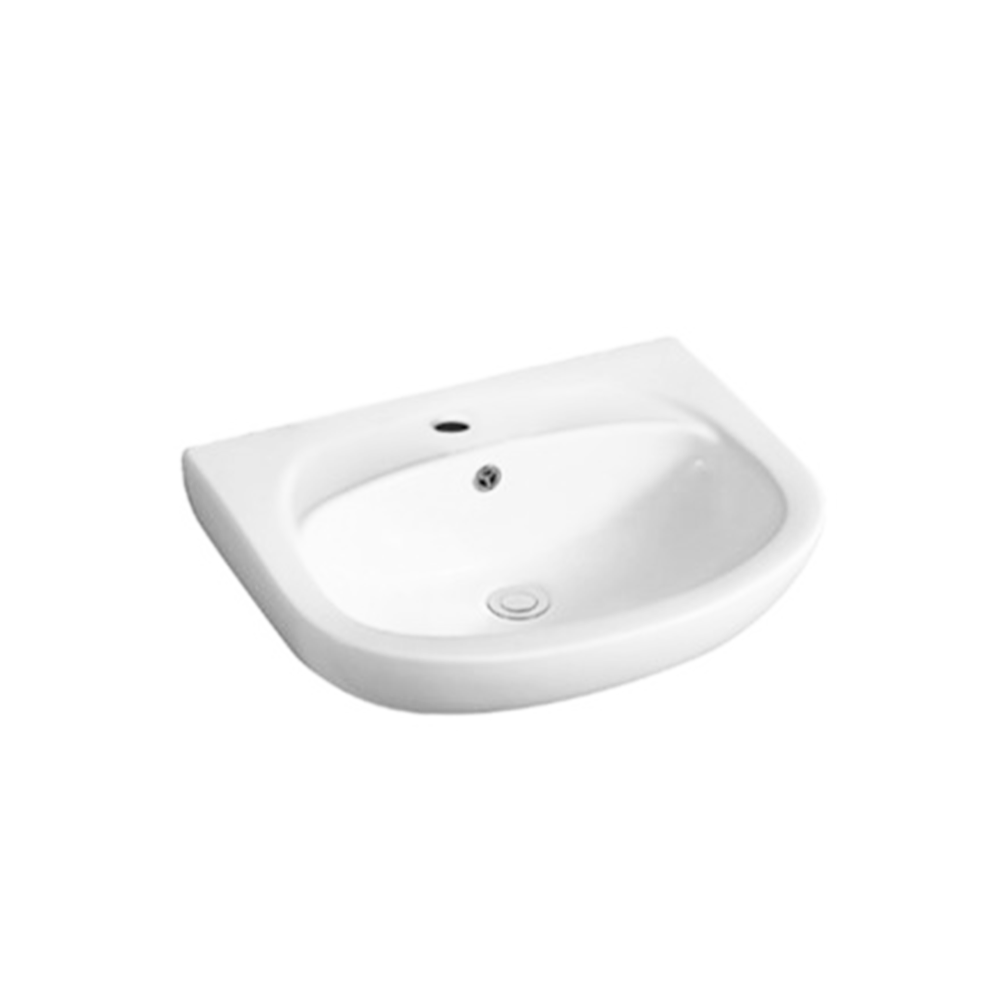 Gloss Round Wall Hung Ceramic Basin White 550X425X160