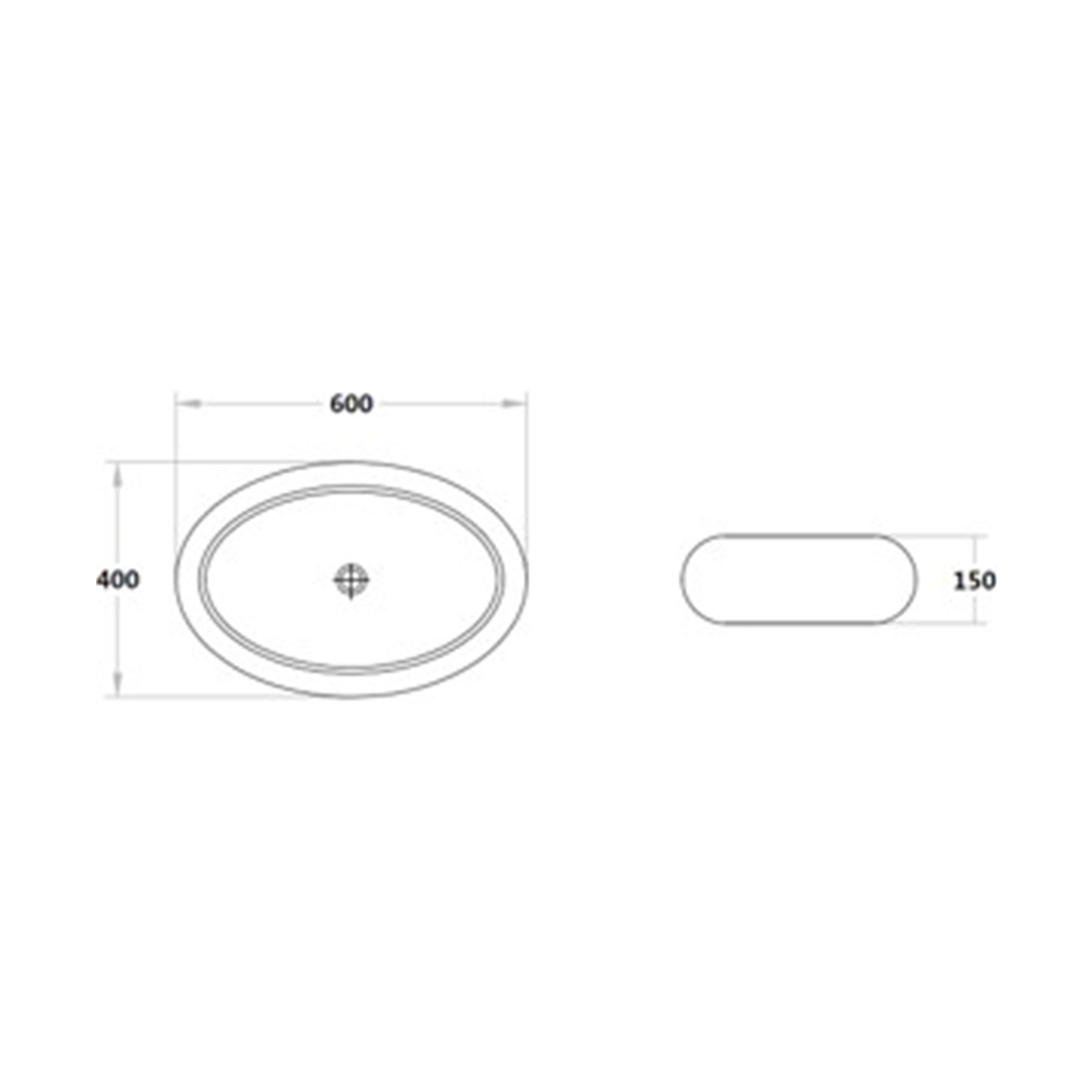 Gloss Oval Above Counter Basin White 600X400X150