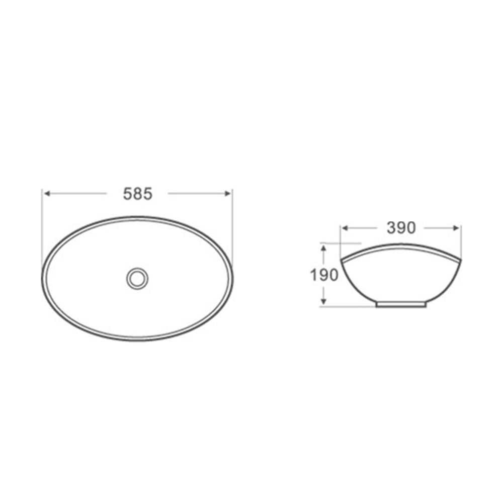 Gloss Oval Above Counter Basin White 585X390X190