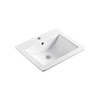 Gloss Rectangle Insert Fine Ceramic Basin White 535X450X180