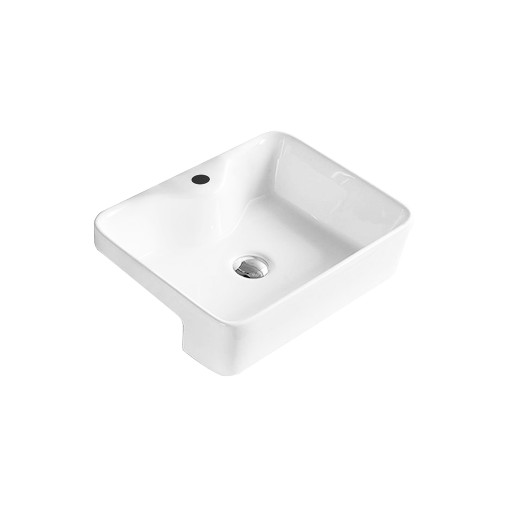 Gloss Rectangle Semi Recessed Basin White 480X370X130