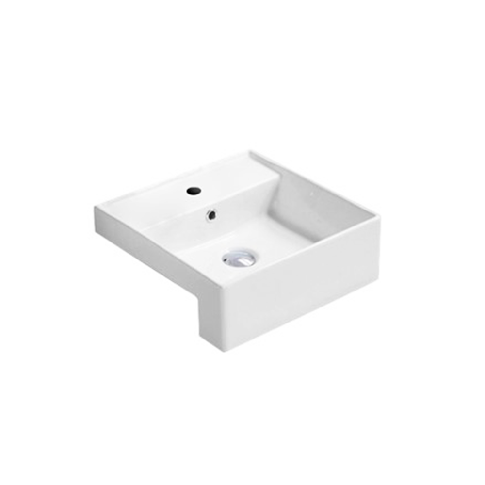 Gloss Rectangle Semi Recessed Basin White 410X410X145