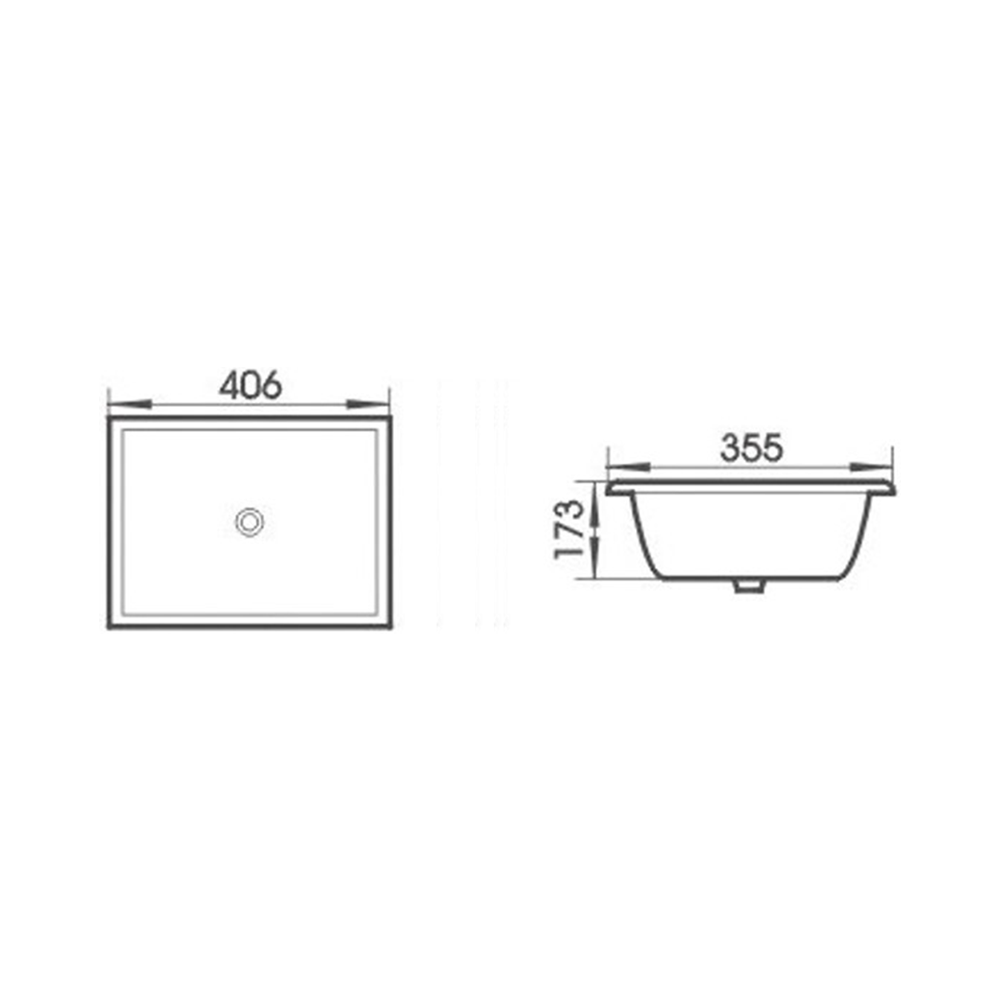 Gloss Rectangle Undermount / Counter Basin White 405X355X175