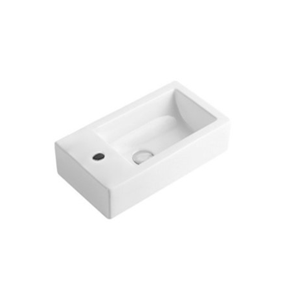 Gloss Rectangle Wall Hung Ceramic Basin White 455X250X120