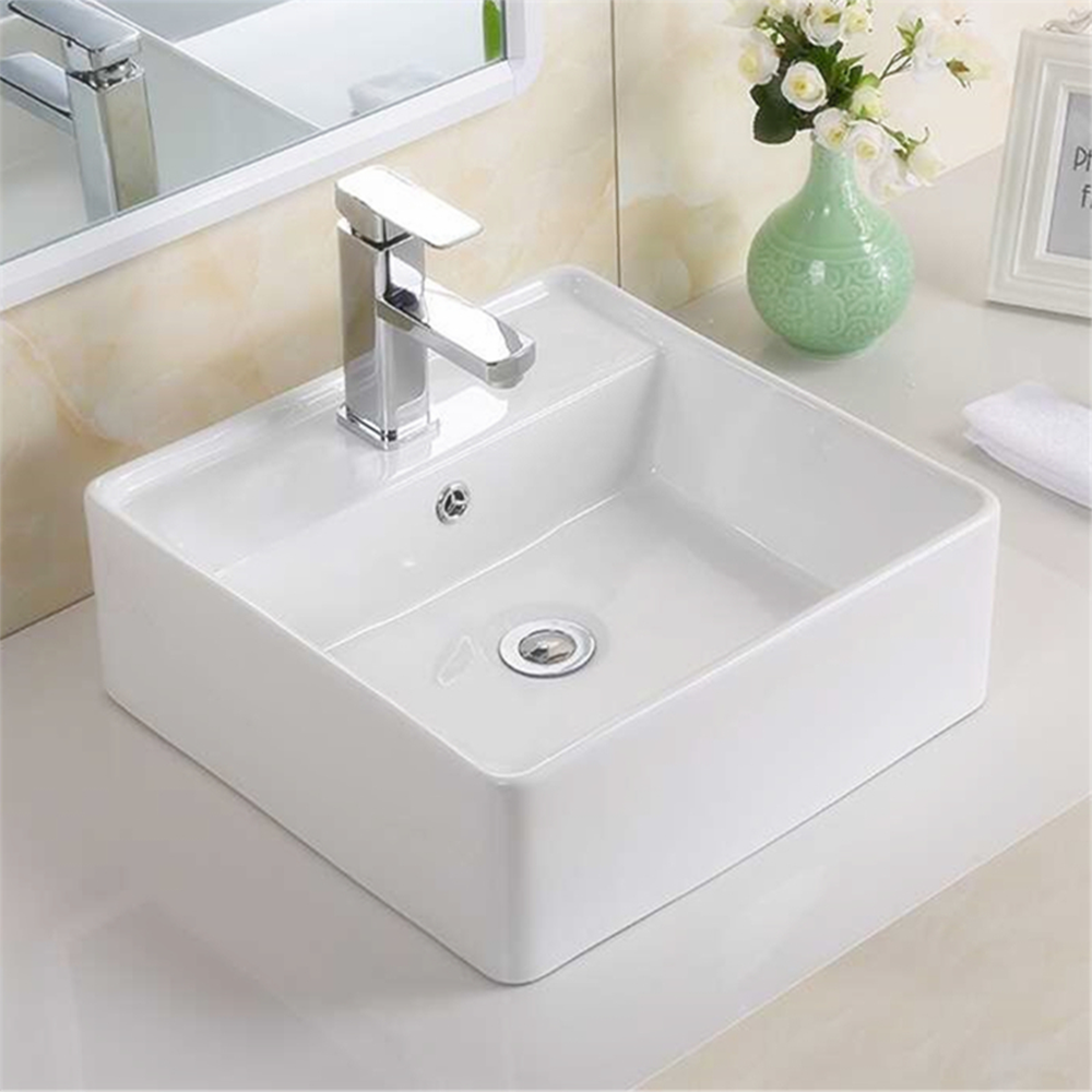 Gloss Rectangle Hand Wash Basin White 410X410X150