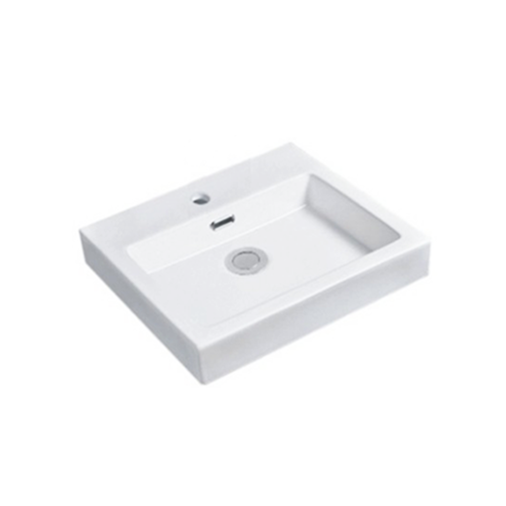 Gloss Rectangle Insert Fine Ceramic Basin White 485X440X130