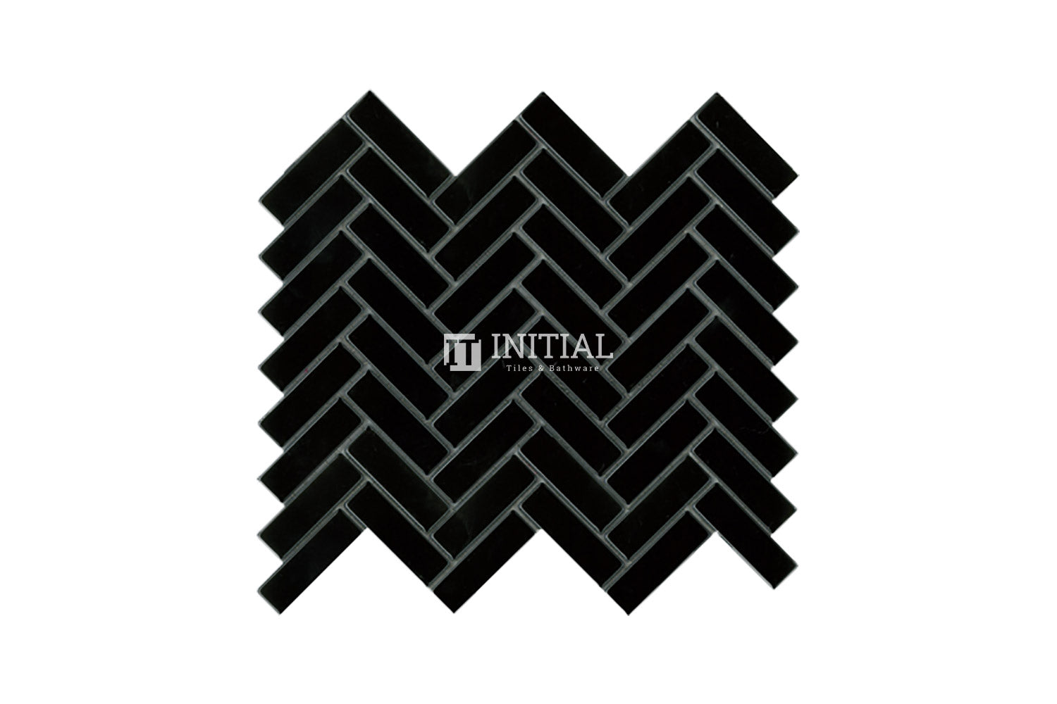 Bathroom Feature Mosaic Herringbone Gloss Black 23mmx73mm