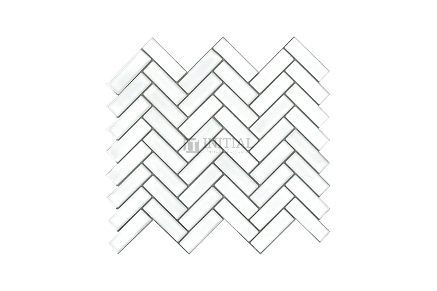 Bathroom Feature Mosaic Herringbone Satin White 23mm x 73mm