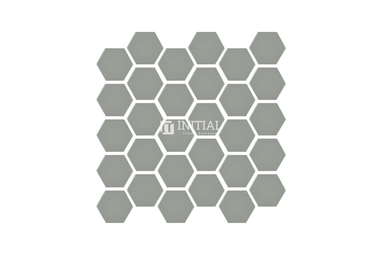 Bathroom Feature Mosaic Hexagon Gloss Light Grey 48mm x 48mm