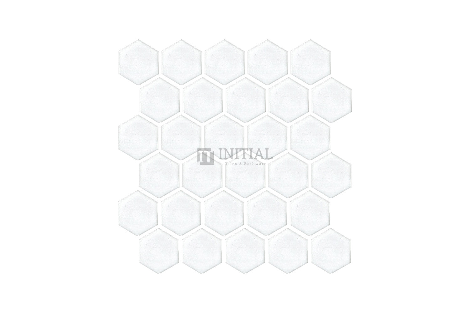 Bathroom Feature Mosaic Hexagon Gloss White 48mm x 48mm