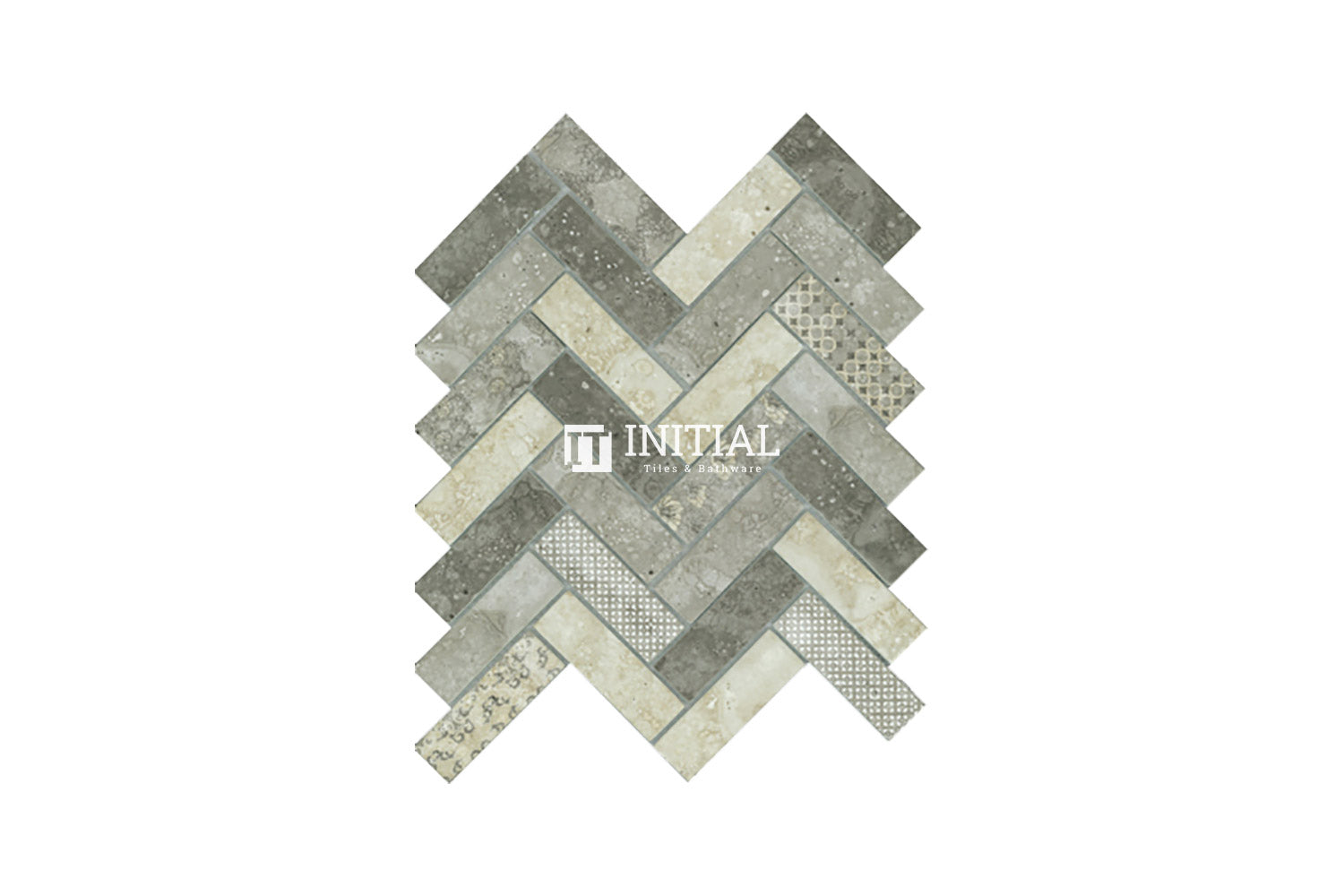 Bathroom Feature Mosaic Signature Herringbone Satin Smoke