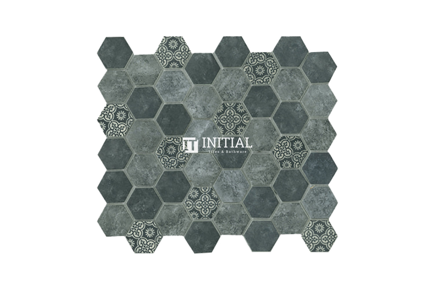 Bathroom Feature Mosaic Signature Hexagon Satin Charcoal