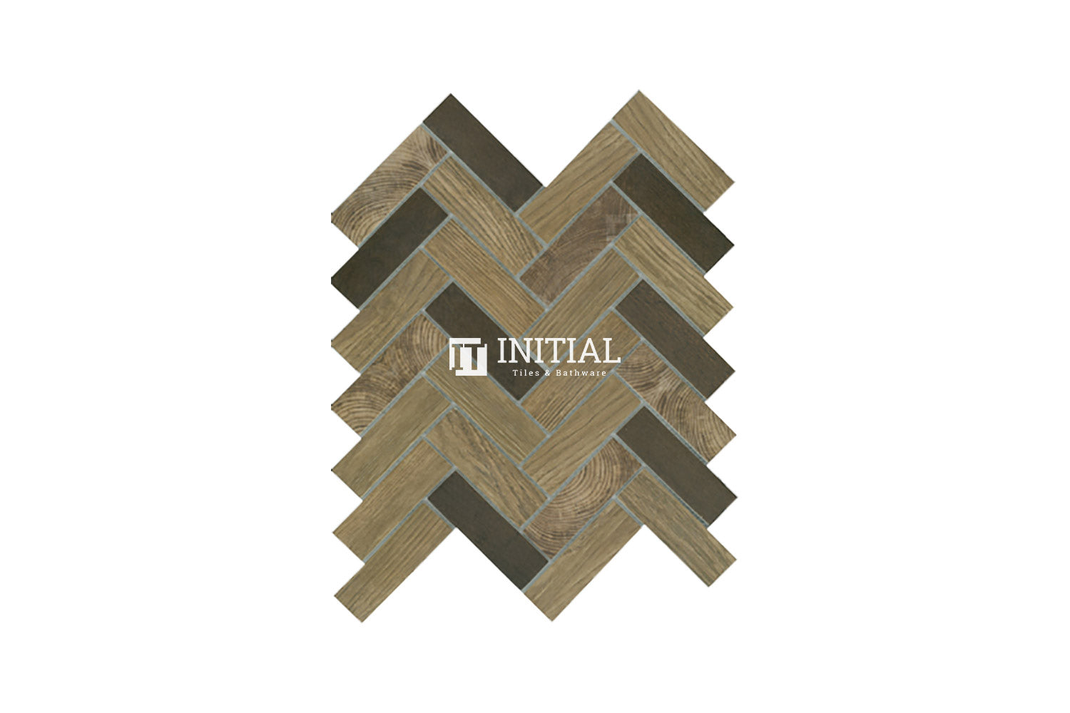 Bathroom Feature Mosaic Wilderness Herringbone Satin Brown