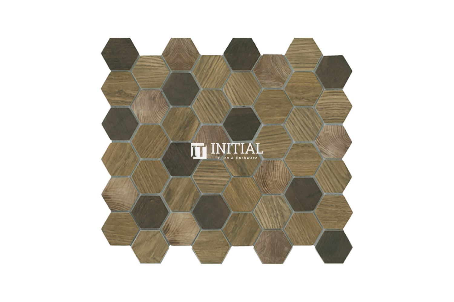 Bathroom Feature Mosaic Wilderness Hexagon Satin Brown
