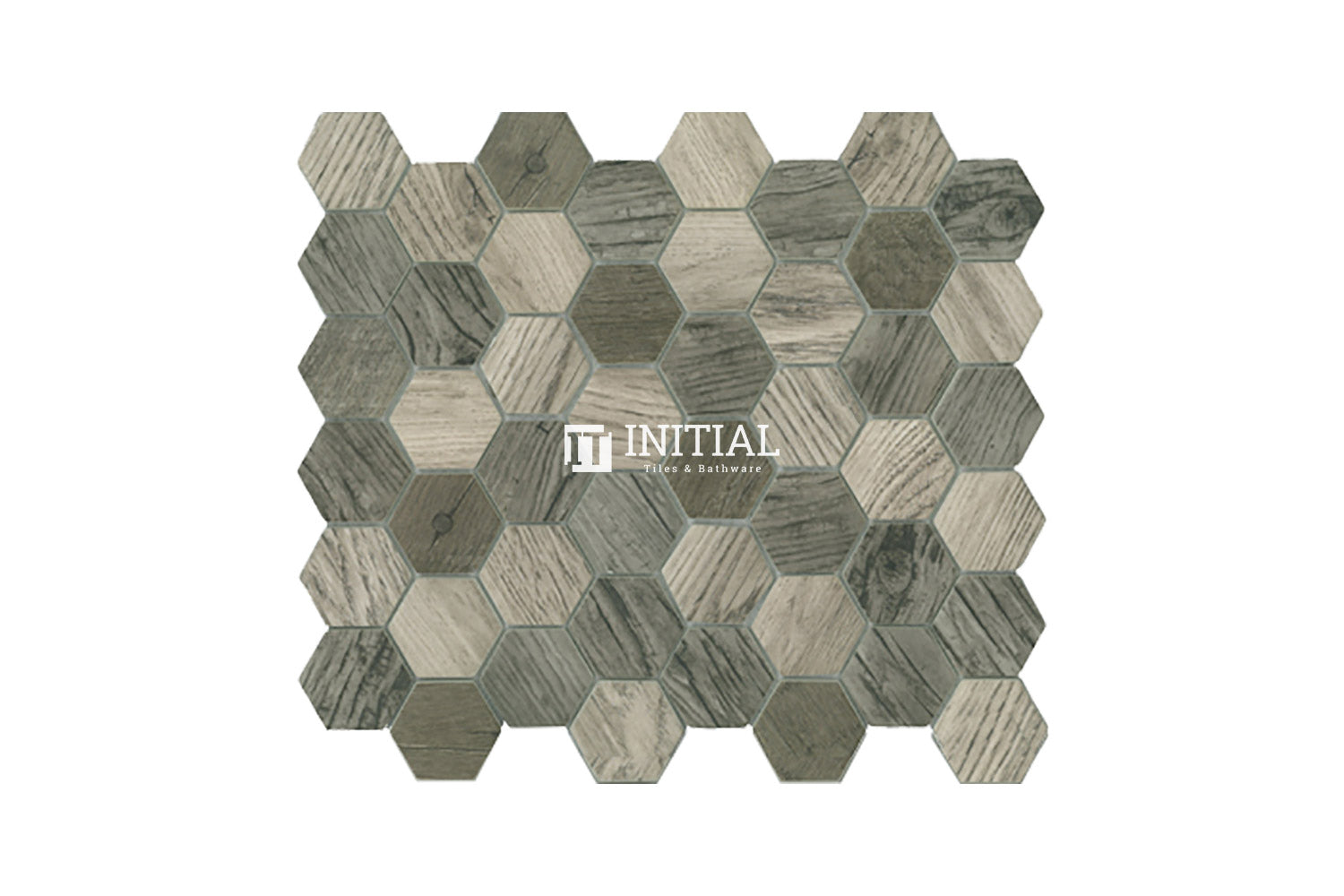 Bathroom Feature Mosaic Wilderness Hexagon Satin Silver