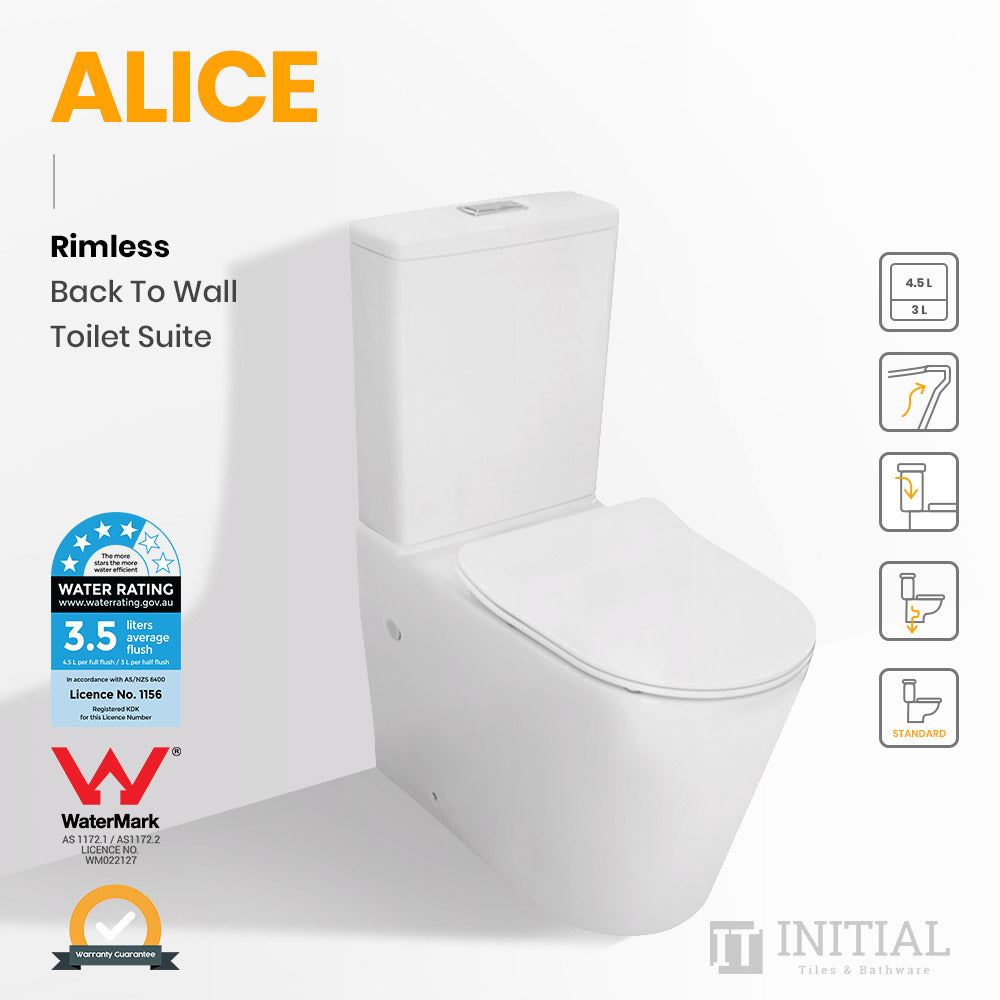 Alice Rimless Back to Wall Toilet Suite Ceramic White 655X380X870