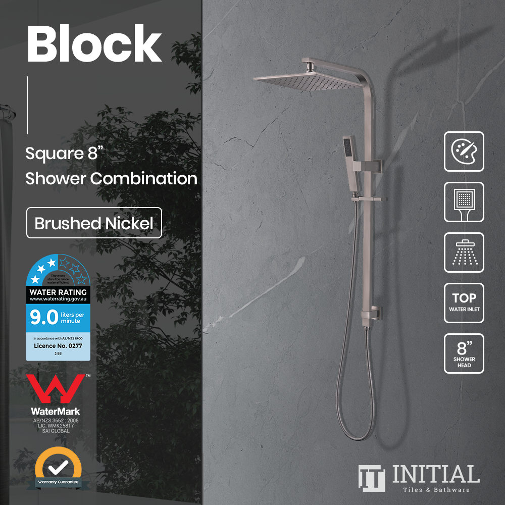 Block 8'' Square Top Water Inlet Shower Combination Brushed Nickel