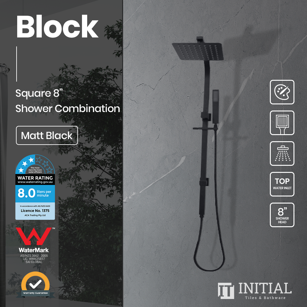 Block 8'' Square Top Water Inlet Shower Combination Matt Black