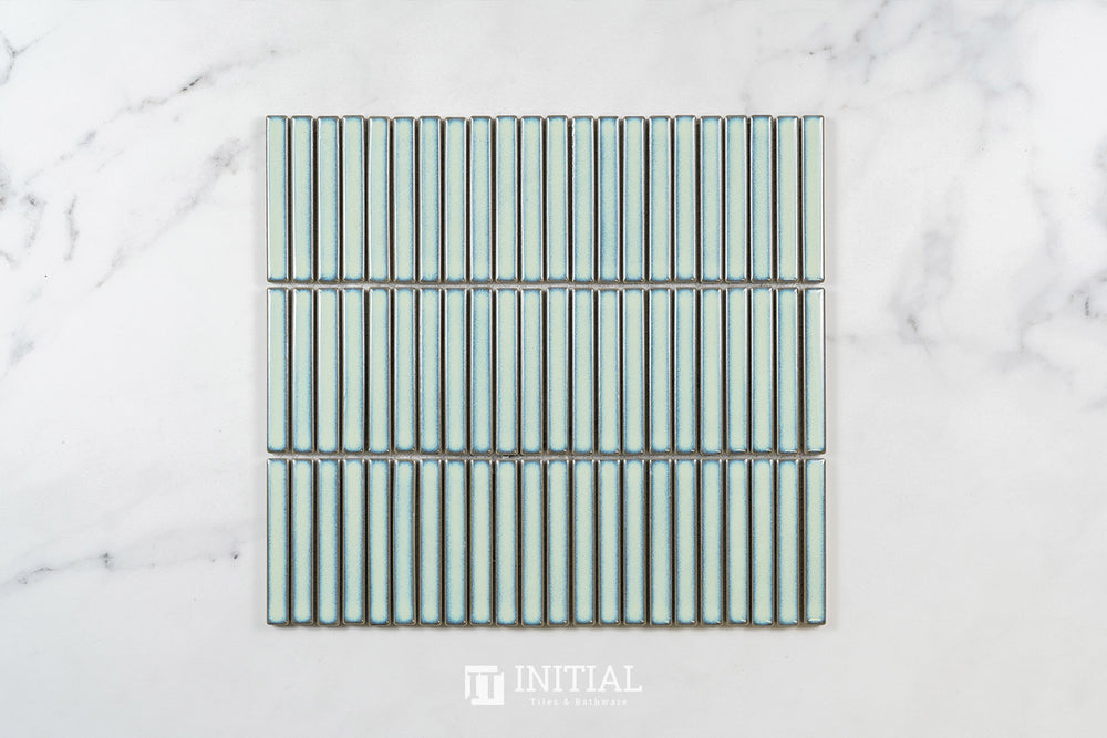 Feature Mosaic Kitkat Fairlight Straightbone Gloss Antique Green 282X308