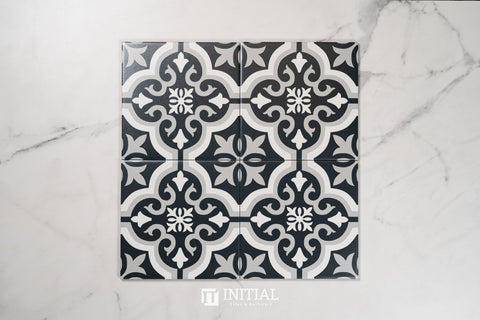 Encaustic Pattern Tile Pierre Braga Black & White Matt 200X200