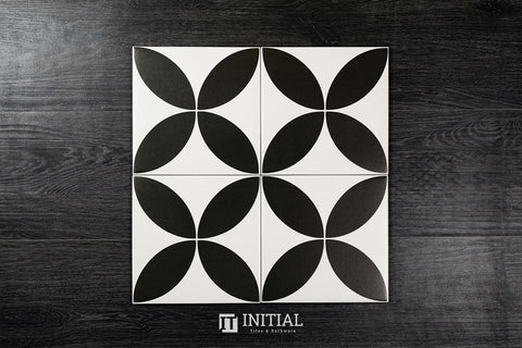 Encaustic Pattern Tile Pierre Classic Black & White Matt 200X200