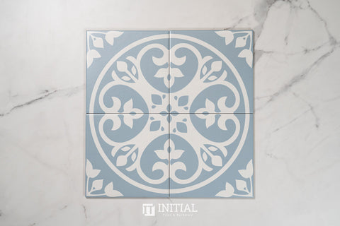 Encaustic Pattern Tile Pierre 1 Floral Light Blue Matt 200X200
