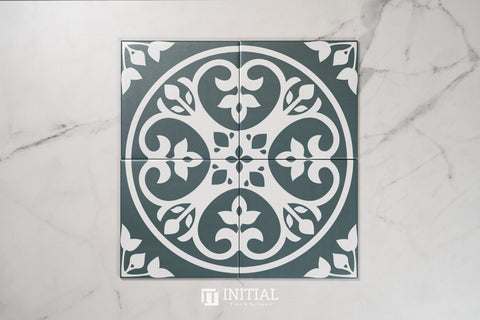 Encaustic Pattern Tile Pierre Floral Navy Matt 200X200