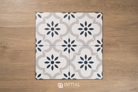 Encaustic Pattern Tile Pierre Lantern White Matt 200X200