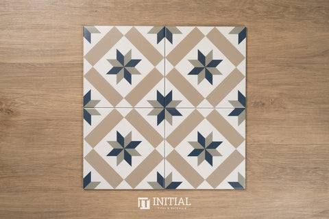 Encaustic Pattern Tile Pierre Lucky Star Matt 200X200