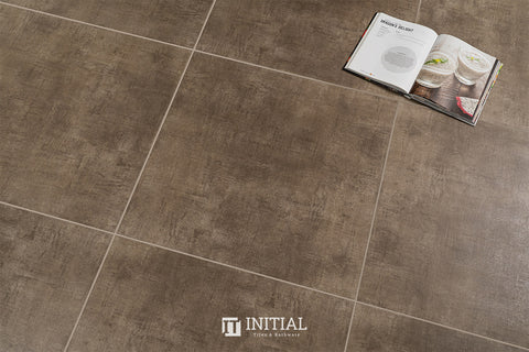 Concrete Look Tile Modern Brown Matt 600X600