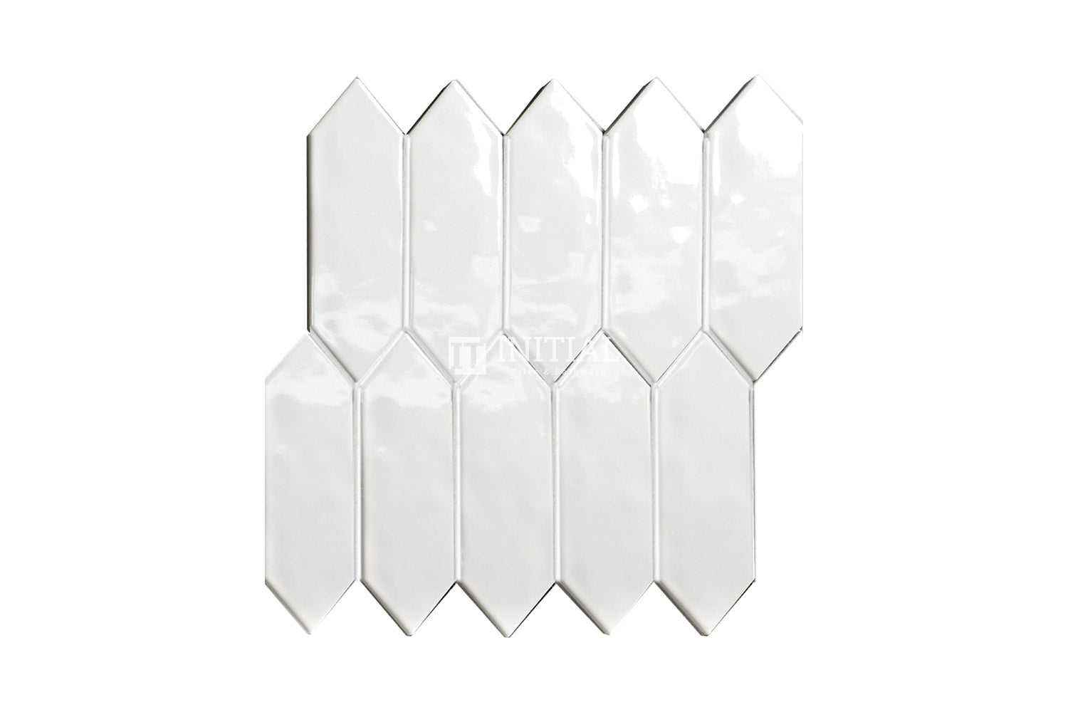 Feature Mosaic Boat Rippled Arrow Mosaic Gloss White 292.5X324