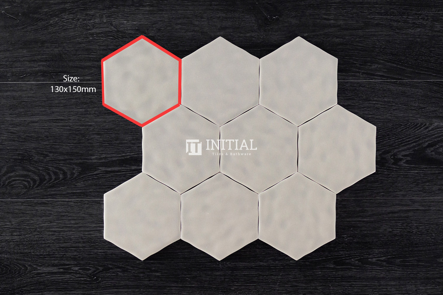 Ceramic Glazed Rippled Surface Hexagon Gloss White 130X150mm