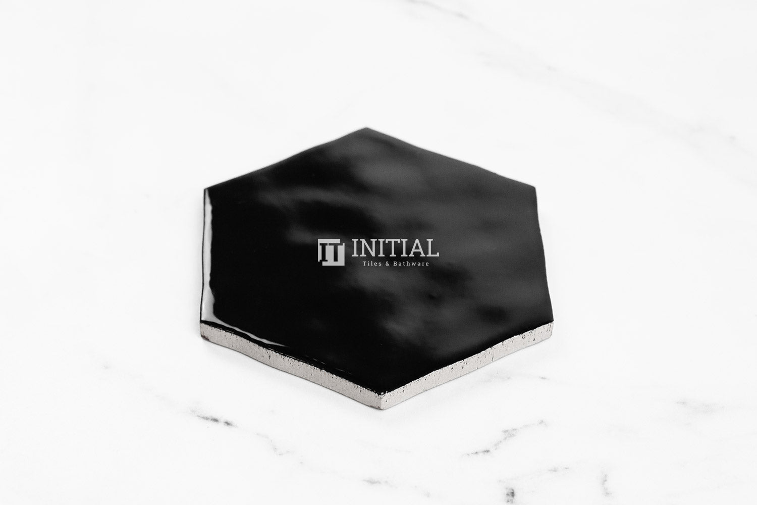 Ceramic Glazed Rippled Surface Hexagon Gloss Black 130X150mm